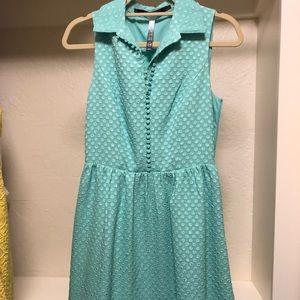 Kensie teal button down knee length dress